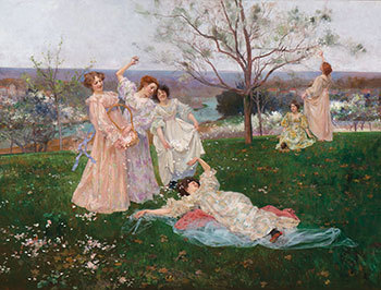 Argentinian, 1850–1927, Spring Flowers, 19th century. Oil on panel, 39 x 51 inches. Gift of Randolph P. Piper in memory and honor of all the girls and women in his life, 2019.88