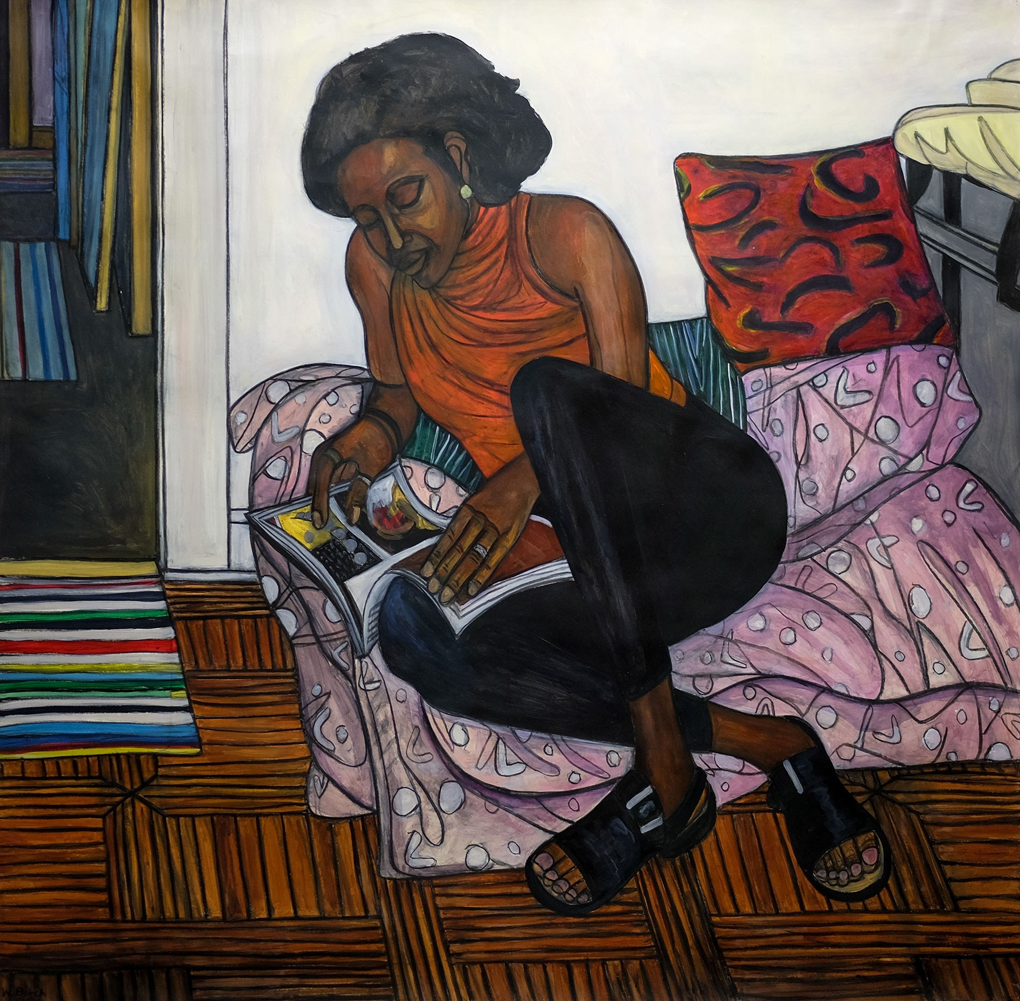 Willie Birch, American, b. 1942. Woman Reading Magazine, 1999. Acrylic and charcoal on paper, 59 x 60 in. Gift of Genevieve and Richard Shaw, by exchange, 2011.1