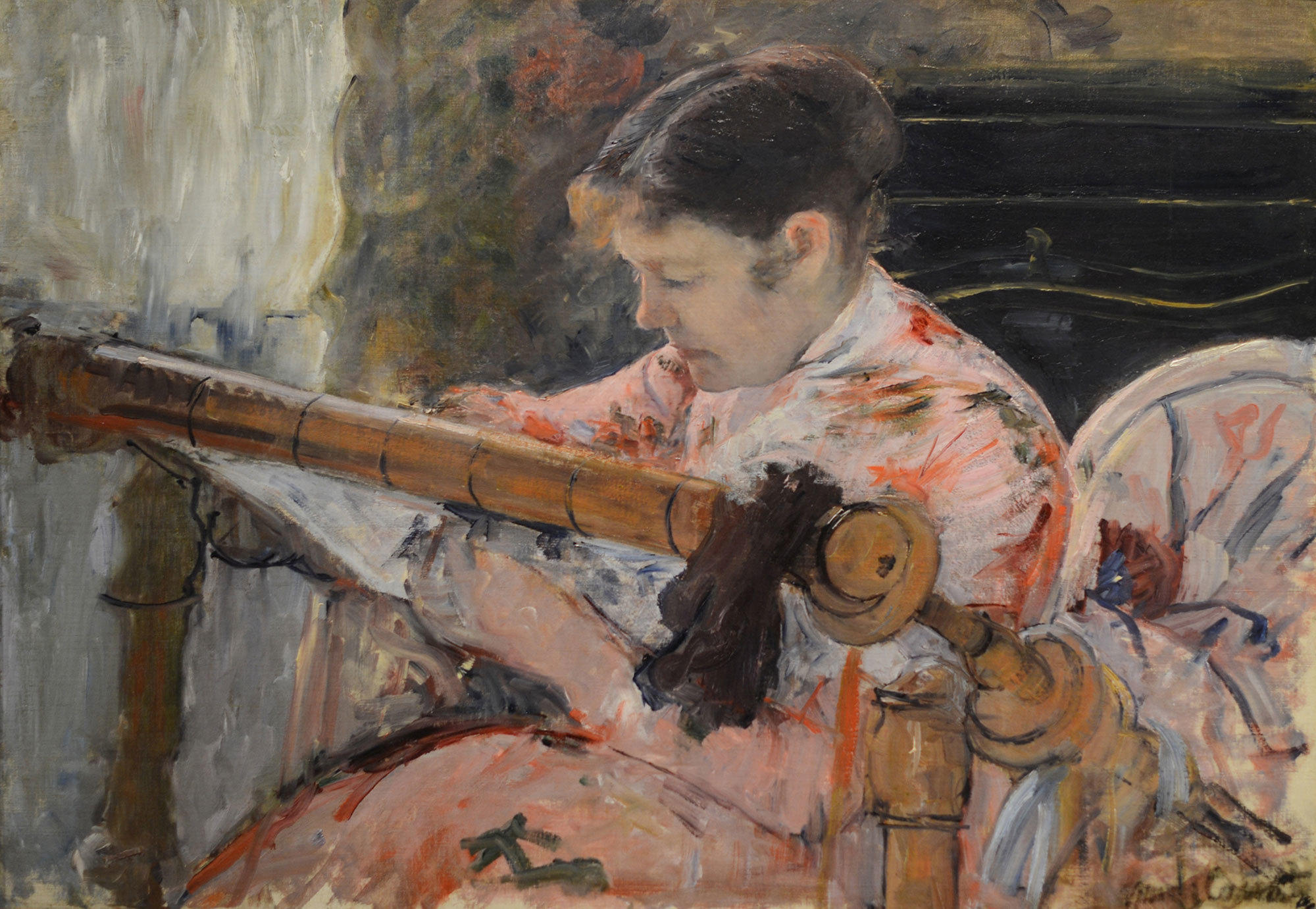 Mary Cassatt, American, 1844–1926. Lydia at a Tapestry Frame, ca. 1881. Oil on canvas, 25 5/8 × 36 3/8 in. Gift of the Whiting Foundation, 1967.32