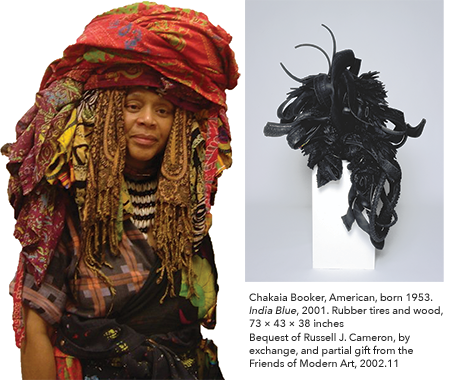Left: Chakaia Booker | Right: India Blue, 2001  Rubber tires and wood 73 × 43 × 38 inches Bequest of Russell J. Cameron, by exchange, and partial gift from the Friends of Modern Art, 2002.11