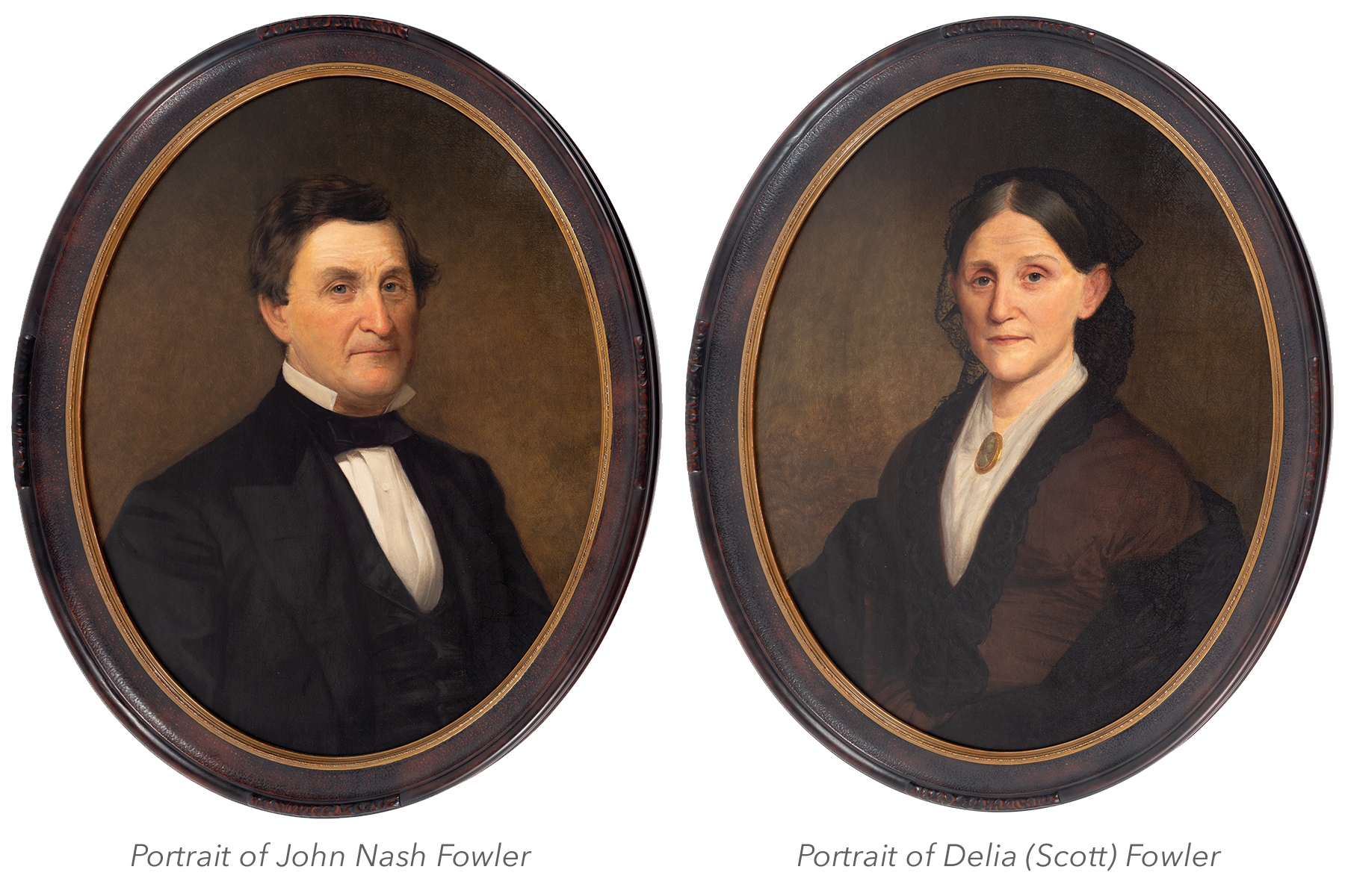 Left: Portrait of John Nash Fowler; Right: Portrait of Delia (Scott) Fowler
