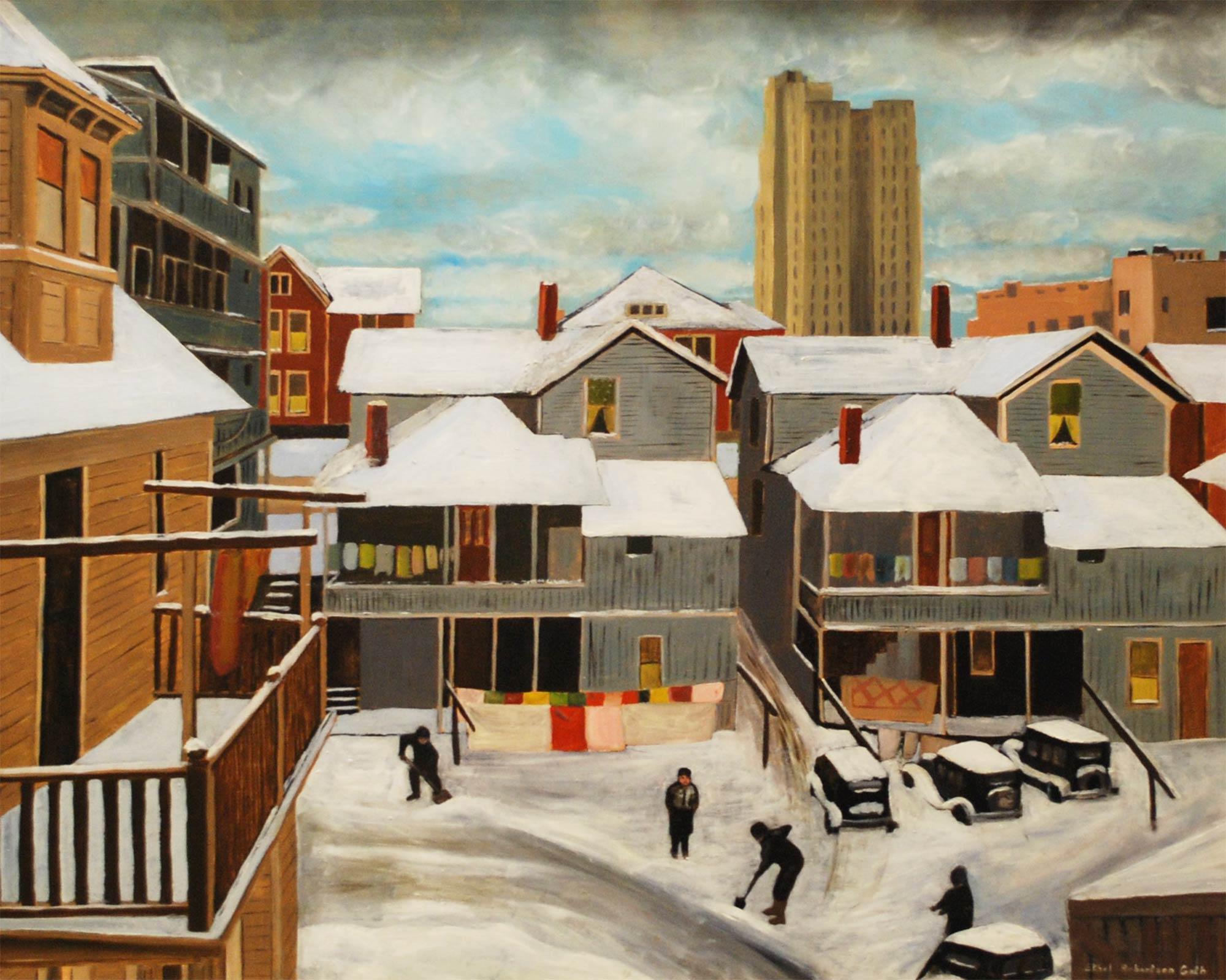 Ethel Robertson Gath, American, 1892–1972. Shoveling Snow, nd. Oil on Masonite, 23 7/8 x 29 7/8 in. Gift of Mr. F. L. Robertson, 1973.82