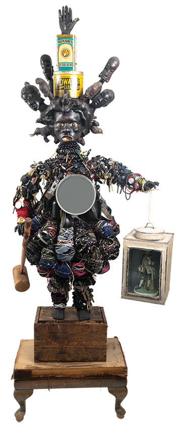 Vanessa German, American, born 1977. No Water Cleanser, 2016. Mixed-media assemblage. 75 x 32 x 20 inches. Museum purchase with funds from the Collection Endowment, and gift of Justice and Mrs. G. Mennen Williams, by exchange, gift of Mr. Harold Frank, by exchange, 2017.53