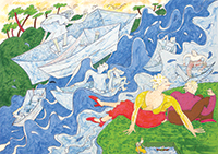 Gladys Nilsson, American, b. 1940. Ragatta, 2009. Lithograph on paper, 18 x 23 inches