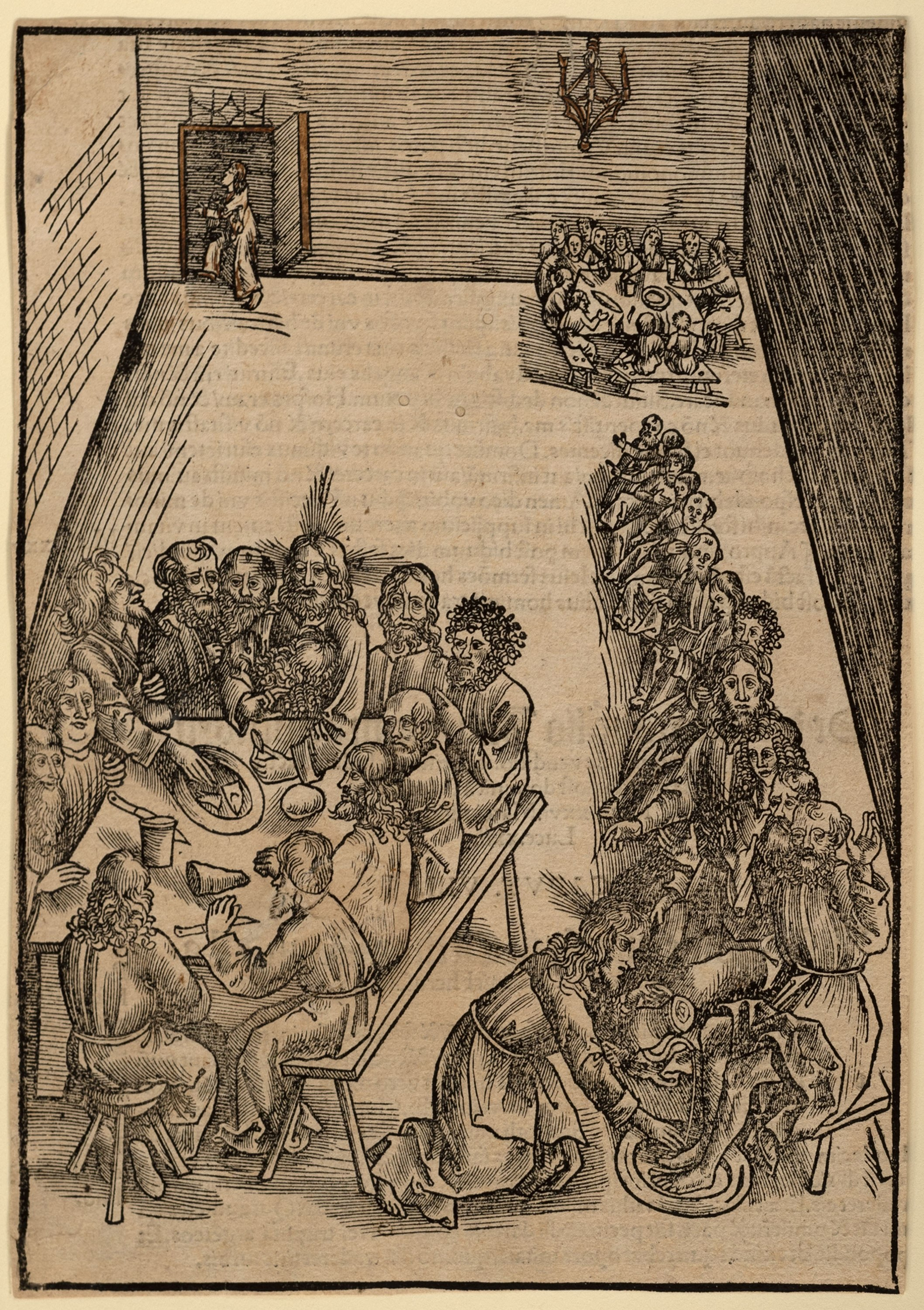 Urs Graf the Elder, Swiss, 1485–1527. The Last Supper and Christ Washing the Feet of His Disciples, plate 9 from the Passio domini nostri Jesu Christ (The Passion of Our Lord Jesus Christ), ca. 1503. Woodcut on paper, 8 ⅝ x 6 1/16 in. Gift of Annette Marcinkoski, 2016.84