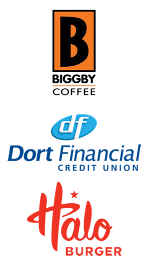 Biggby Coffee, Dort Financial Credit Union, Halo Burger