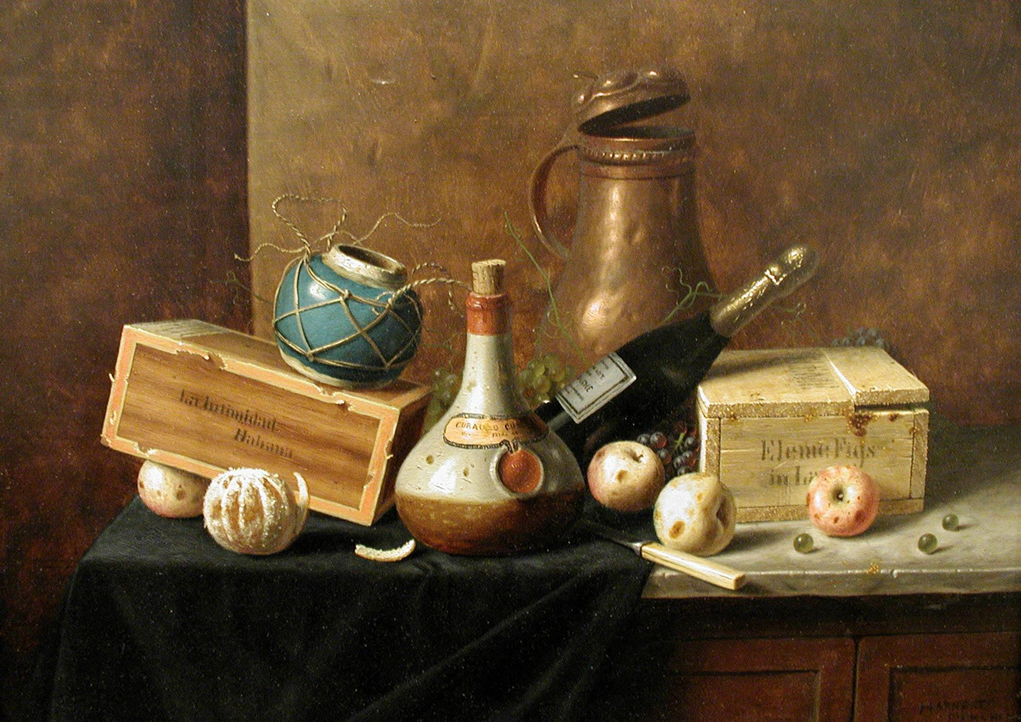 William Michael Harnett, American, b. Ireland, 1848–1892. Still Life, 1884. Oil on panel, 9 3/8 x 12 5/8 in.