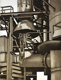 Sidney Hurwitz, American, b. 1932. Gas Works, 2012. Aquatint on paper, 18 x 13 7/8 inches