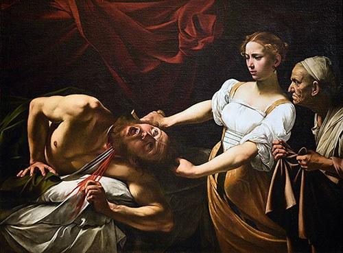 Caravaggio (Italian, 1571–1610) Judith Beheading Holofernes, c. 1598–99 or 1602; oil on canvas, 57 x 77 inches. Galleria Nazionale d'Arte Antica, Palazzo Barberini, Rome