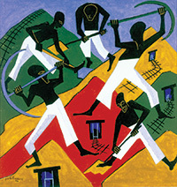 6.15.18 – 10.7.18 Black Mountain College Museum and Arts Center Asheville, North Carolina  Jacob Lawrence, American, 1917–2000. South African Gold Miners, 1946. Gouache on paper. 20 1/4 x 19 1/2 inches. Museum purchase with a grant from the Harvey J. Mallery Charitable Trust, 1991.23  © 2018 The Jacob and Gwendolyn Knight Lawrence Foundation, Seattle / Artists Rights Society (ARS), New York