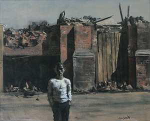 Hughie Lee-Smith, American, 1915–1999. Slum Lad, ca. 1960. Oil on canvas. 26 x 32 inches. Courtesy of the Isabel Foundation Inlander Collection, L2003.80  © 2018 Estate of Hughie Lee-Smith / Licensed by VAGA at ARS, NY