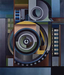 Edmund Lewandowski, American, 1914–1998. Dynamo, 1948. Oil on canvas. 36 1/8 x 30 7/8 inches. Gift of Mr. and Mrs. Harold L. Frank, by exchange, 1993.38