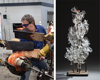 Martin Blank, American, born 1962. Steam Portrait, 2007. Hot-sculpted glass, stainless steel stand. 98 × 36 × 30 inches. Courtesy of the Isabel Foundation, L2017.20. Photo credit: Douglas Schaible Photography