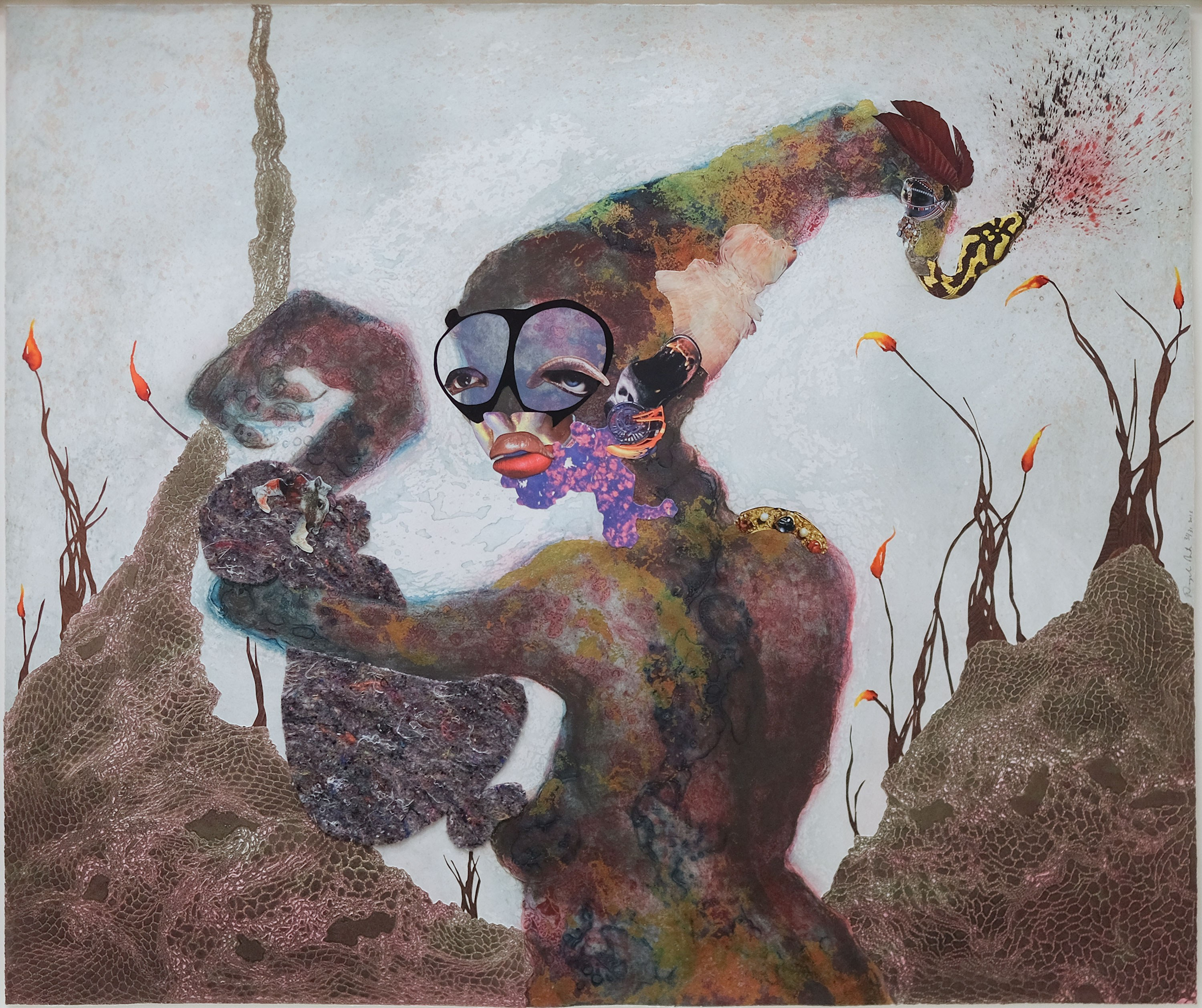 Wangechi Mutu, American, b. Kenya, 1972. Second Born, 2013. 24 kt gold, collagraph, relief, digital printing, collage, and hand coloring on paper, 36 x 43 in. Museum purchase with funds from the Collection Endowment, 2015.65