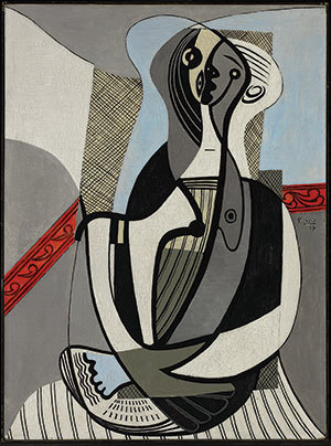 "Pablo Picasso Spanish, 1881–1973 ""Femme Assise,"" 1927 Oil on canvas 511/2 x 381/2 inches Collection Art Gallery of Ontario, Toronto. Purchase, with assistance from the Women's Committee and anonymous contributions, 1964. Acc. 63/44 © 2019 Estate of Pablo Picasso / Artists Rights Society (ARS), New York"