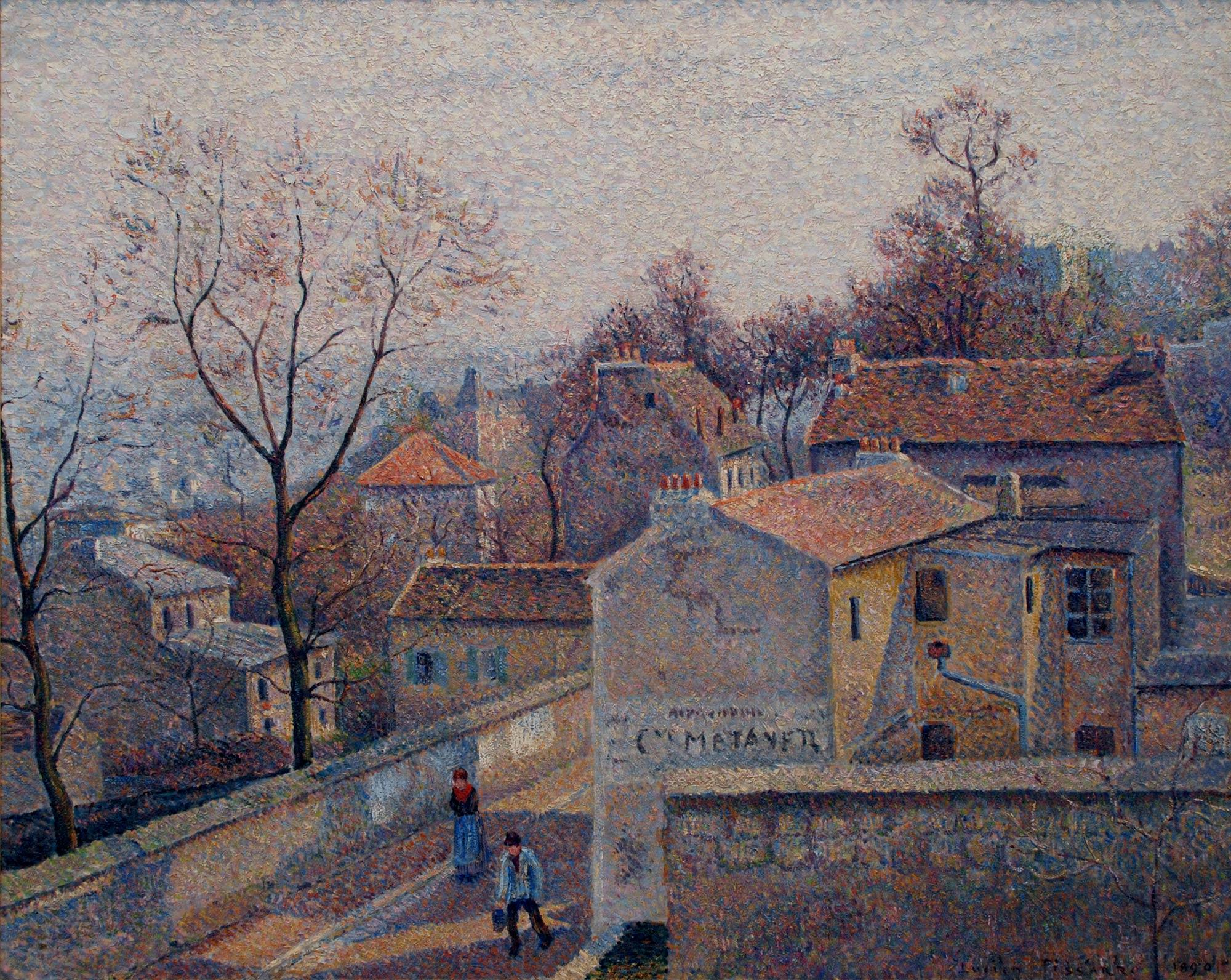 Lucien Pissarro, French, 1863–1944. Saint Vincent Street, Winter Sun, 1890. Oil on canvas, 25 ¾ x 32 in. Gift of The Whiting Foundation through Donald E. Johnson, 1979.201
