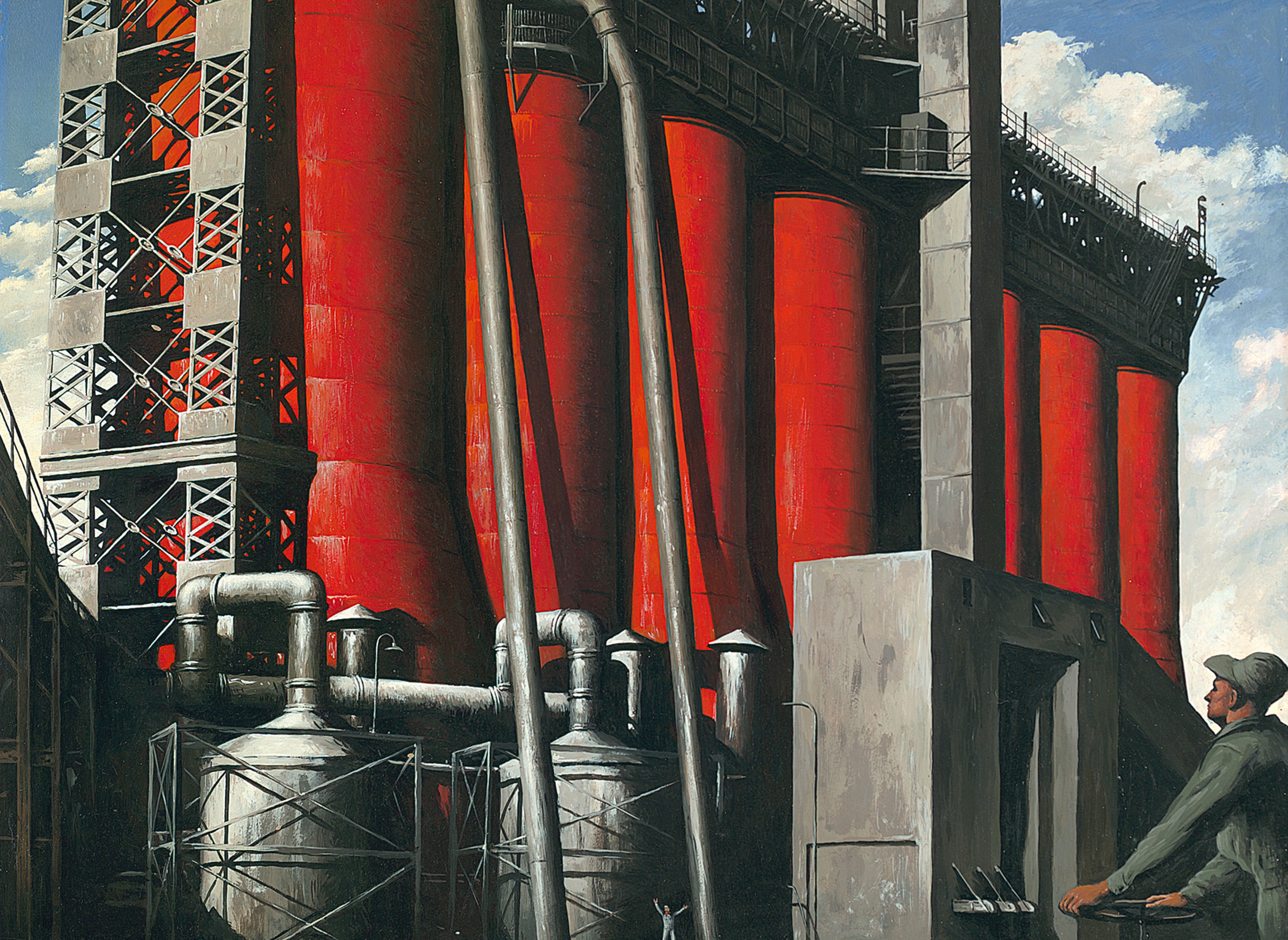 Robert Riggs, American, 1896 - 1970. Limestone Kilns, Wyandotte Chemical Company, Michigan, ca. 1947-48. Tempera on panel, 21 3/4 × 26 1/2 in. Museum purchase with funds from an anonymous donor in honor of Barbara and the late Bruce Mackey, 2011.322