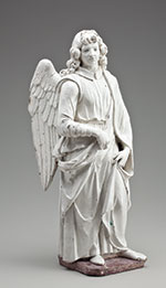 Giovanni della Robbia (attributed to), Italian, 1469–1529, Figure of an Angel, late 15th/early 16th century, Tin-glazed earthenware, 26 x 9 x 9 inches. Gift of Mrs. Viola E. Bray, FIA 2005.153