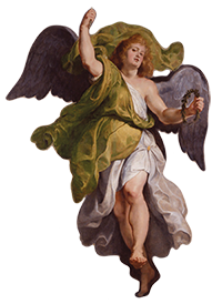 Peter Paul Rubens, Flemish, 1577–1640. Angel, 1610–11. Oil on modern support transferred from wood panel. 801/2 x 57 inches. Gift of Viola E. Bray, 2005.158
