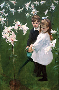John Singer Sargent, American, born Italy, 1856–1925. Garden Study of the Vickers Children, 1884. Oil on canvas. 54 1/2 x 36 inches. Gift of the Viola E. Bray Charitable Trust via Mr. and Mrs. William L. Richards, 1972.47