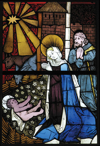 Image: German, Stained Glass Panel with the Nativity, 15th century. Pot metal white glass, vitreous paint, silver stain, olive-green enamel, a: 22 3/16 x 29 3/8 x 3/8 inches, b: 21 3/4 x 29 5/16 x 3/8 inches. Collection of The Metropolitan Museum of Art. Francis L. Leland Fund, 1913, 13.64.4a,b