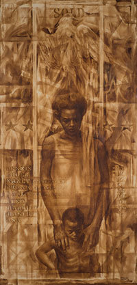 Charles White, American, 1918–1979. Wanted Poster Series #17, 1971. Oil on pencil on poster board. 60 x 30 inches. Gift of Mr. and Mrs. B. Morris Pelavin, 1971.43