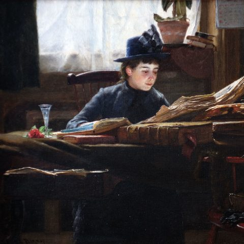 William Verplanck Birney American, 1858 - 1909 The Reader, ca. 1890 Oil on canvas 12 × 14 in. Gift of Genevieve and Richard Shaw, by exchange 2011.317