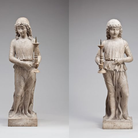 Giovanni Buora Italian, 1450 - 1513 Pair of Angels Holding Candlesticks, n.d. Sandstone 39 × 14 × 10 in. Gift of Viola E. Bray 2005.146.1-2