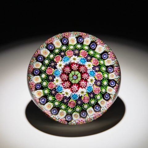 Clichy French, 1837 - 1885 Concentric Millefiori in Stave Basket, ca. 1850 Glass  2 7/8 in. Gift of Mr. and Mrs. William L. Richards 1969.75.31.2