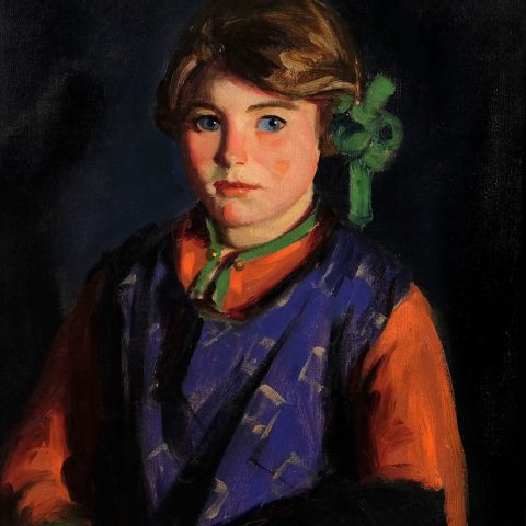 """Robert Henri American, 1865 - 1929 Catherine (inscribed on back of painting """"Catharine""""), 1924 Oil on canvas 24 1/2 × 20 3/8 in. Framed: 32 × 27 1/2 in.  Gift of James W. Sibley in memory of Harriet Cumings"""