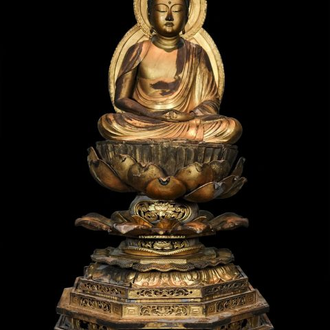 Japanese Amida Buddha, 1603–1867 Wood gilt and lacquer 29 3/4 × 16 1/2 in. Gift of Karel Wiest in memory of Julie A. Garrett (1932-1980) 1980.73
