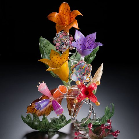 Ginny Ruffner Aesthetic Engineering Series: Inventing Flowers, 2005 Lampworked, sandblasted and painted glass L2017.106