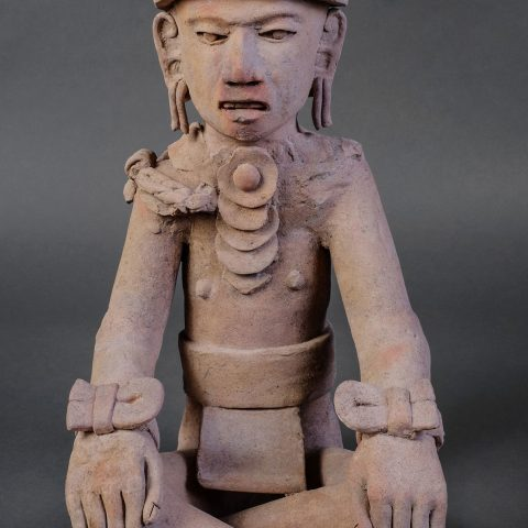 Veracruz, Mexican. Seated Figure, 900-1500. Earthenware, 20 3/8 × 9 1/2 × 11 1/2 in. Gift of Genevieve and Richard Shaw, by exchange 2010.285