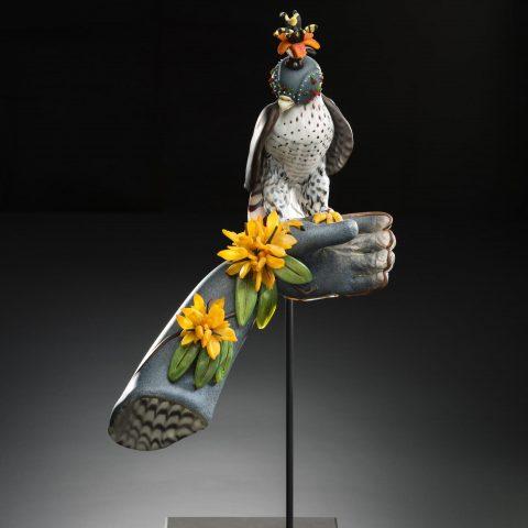 Karen Willenbrink-Johnsen Plum Falcon, 2004 Blown and sculpted glass, steel stand L2017.131