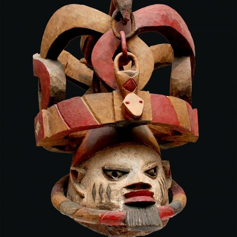 Yoruba peoples Federal Republic of Nigeria Snake Cult Mask, Gelede Society, n.d. Polychromed wood 17 × 17 1/4 in. Gift of Justice and Mrs. G. Mennen Williams 1973.28