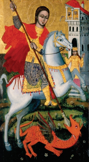 Artist Unknown, Italian. Saint George and the Dragon, 15th century. Egg tempera on panel, 36 7/8 x 20 1/4 inches. Gift of Mr. and Mrs. Raymond Field, 1944.1