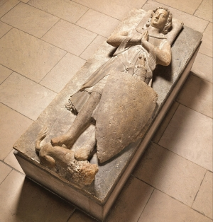 French A Knight of the d'Aluye Family, after 1248–by 1267 Limestone 13 x 331/2 × 831/2 inches The Cloisters Collection, 1925 The Metropolitan Museum of Art