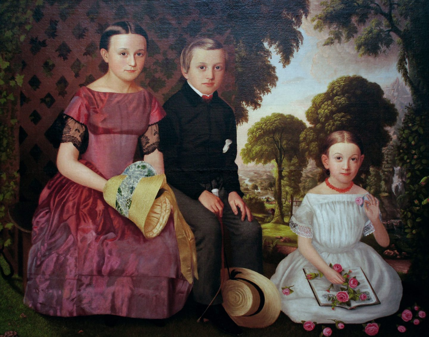 American, 19th century. The Fowler Children, 1854. Oil on canvas, 49 × 61 1/4 inches. Gift of the Estate of Mrs. Ernest C. Schnuck, 1976.1